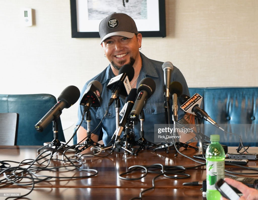 Singer/Songwriter Jason Aldean talks with press during Jason Aldean's Triple #1 Party at Wildhorse Saloon on August 2, 2017 in Nashville, Tennessee.