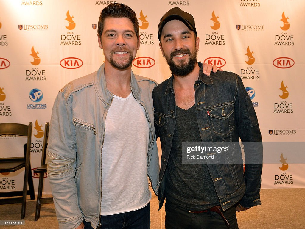 Singer/Songwriter Jason Crabb and Rhett Walker attends the 44th Annual GMA Dove Awards Nominations Press Conference at Allen Arena Lipscomb...