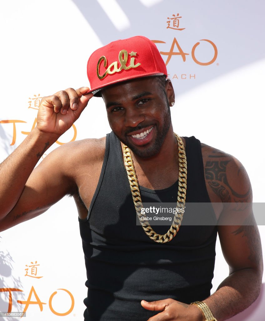 Singer/songwriter <a gi-track='captionPersonalityLinkClicked' href=/galleries/search?phrase=Jason+Derulo&family=editorial&specificpeople=5745869 ng-click='$event.stopPropagation()'>Jason Derulo</a> arrives at the grand opening of Tao Beach season at the Tao Beach at The Venetian Las Vegas on April 19, 2014 in Las Vegas, Nevada.