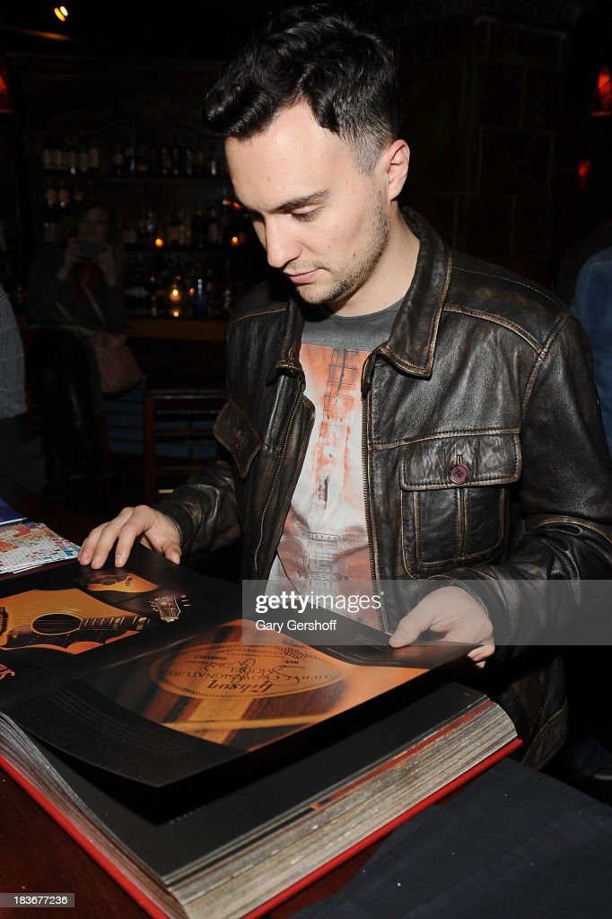 Singer-songwriter Jesse Clegg attends the book launch and performance for '108 Rock Star Guitars' benefitting The Les Paul Foundation at The Cutting Room on October 8, 2013 in New York City.