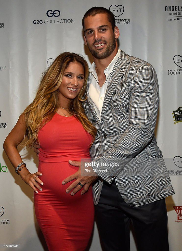 Singer/Songwriter Jessie James Decker and <a gi-track='captionPersonalityLinkClicked' href=/galleries/search?phrase=Eric+Decker&family=editorial&specificpeople=3950667 ng-click='$event.stopPropagation()'>Eric Decker</a> (NFL New York Jets) attend On Deck With The Deckers Hosted By The Eric And Jessie Decker Foundation, The Eric And Jessie Decker Foundation, positively impact the lives of United States military service members and veterans as well as animals. EJDF serves those who have served us via Decker's Dogs, helps fund the rescue, care and training of service dogs for military veterans returning home with disabilities. Event held at Rosewall on June 16, 2015 in Nashville, Tennessee.