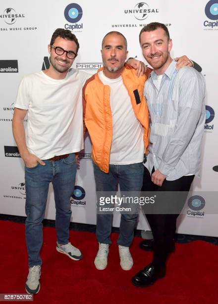 Singersongwriter Jimmy Napes Apple Music's Beats 1's Zane Lowe and recording artist Sam Smith attend Capitol Music Group's Premiere Of New Music And...
