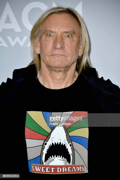 Singersongwriter Joe Walsh poses in the press room during the 52nd Academy Of Country Music Awards at TMobile Arena on April 2 2017 in Las Vegas...