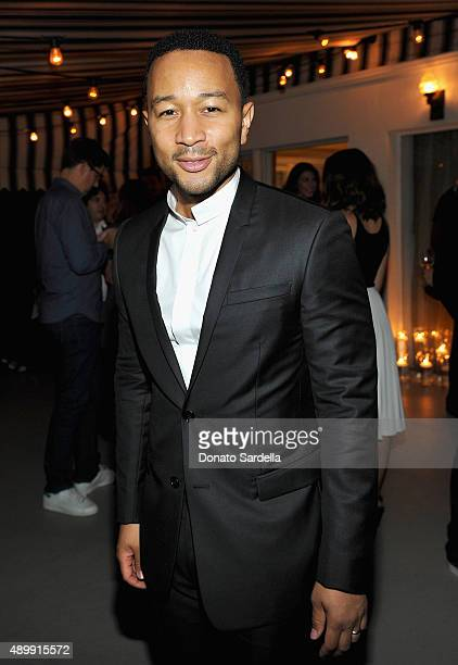 Singer/songwriter John Legend attends a cocktail event hosted by Dior Homme's Kris Van Assche at Chateau Marmont on September 24 2015 in Los Angeles...