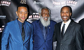 Singer/songwriter John Legend Dick Gregory and actor Joe Morton attend 'Turn Me Loose' opening night at The Westside Theatre on May 19 2016 in New...