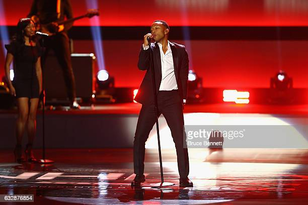 Singersongwriter John Legend performs during the NHL 100 presented by GEICO Show as part of the 2017 NHL AllStar Weekend at the Microsoft Theater on...