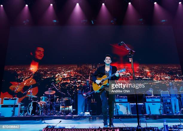 Singersongwriter John Mayer performs on stage at Rogers Arena on April 19 2017 in Vancouver Canada