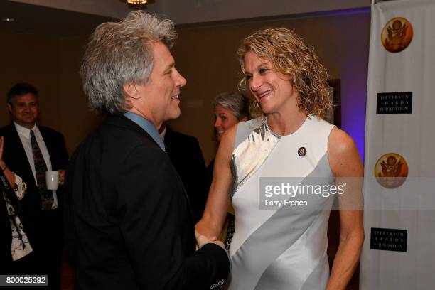 Singersongwriter Jon Bon Jovi and CEO of the Jefferson Awards Foundation Hillary Schafer attend The Jefferson Awards Foundation 2017 DC National...