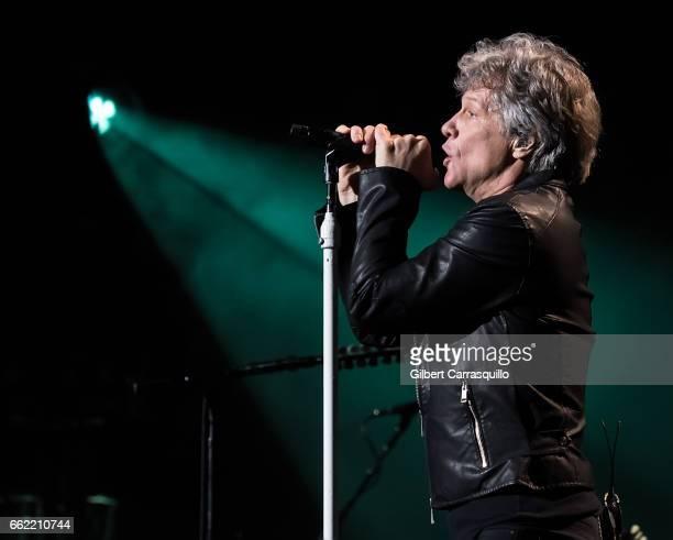 Singersongwriter Jon Bon Jovi performs during Bon Jovi 'This House Is Not for Sale' tour at Wells Fargo Center on March 31 2017 in Philadelphia...