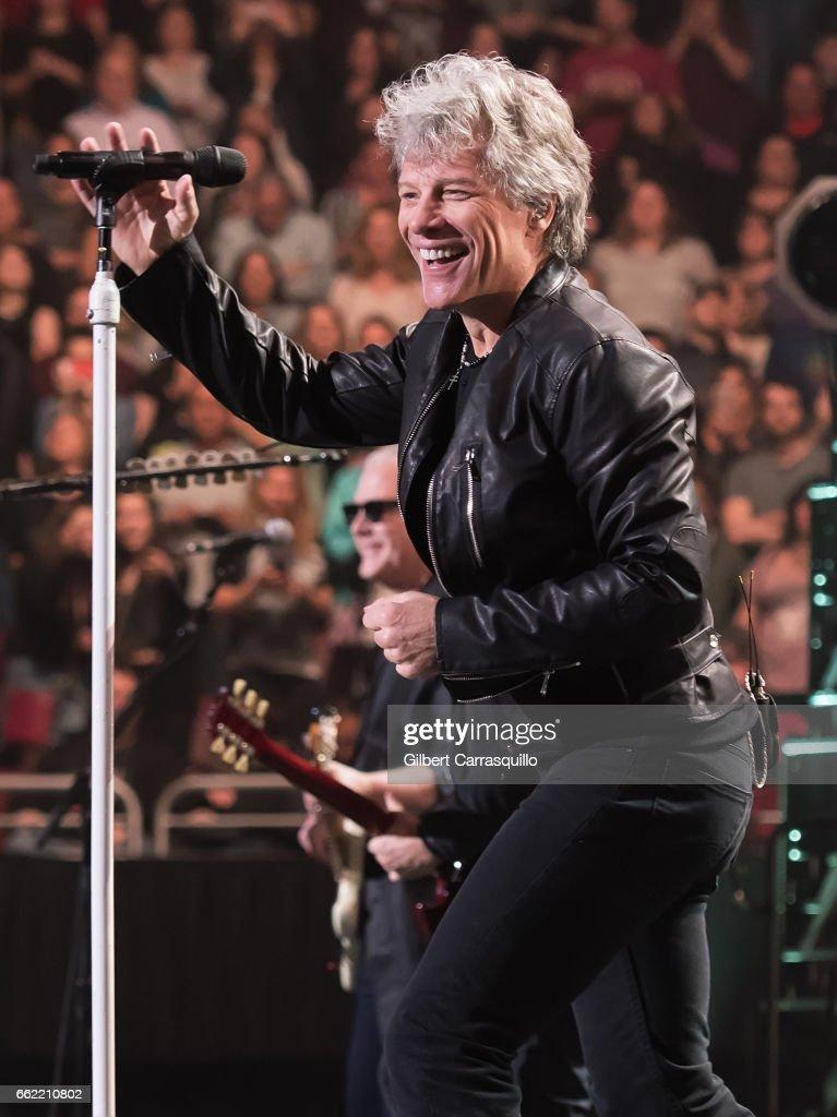 Singer-songwriter Jon Bon Jovi performs during Bon Jovi 'This House Is Not for Sale' tour at Wells Fargo Center on March 31, 2017 in Philadelphia, Pennsylvania.