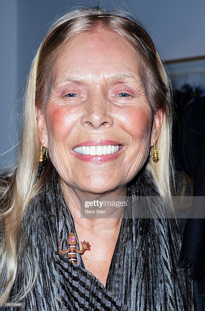 Singer/songwriter Joni MItchell attends the art exhibition and opening of Alexander Yulish 'Interior Stories' at Gallery Brown on January 19, 2013 in Los Angeles, California.