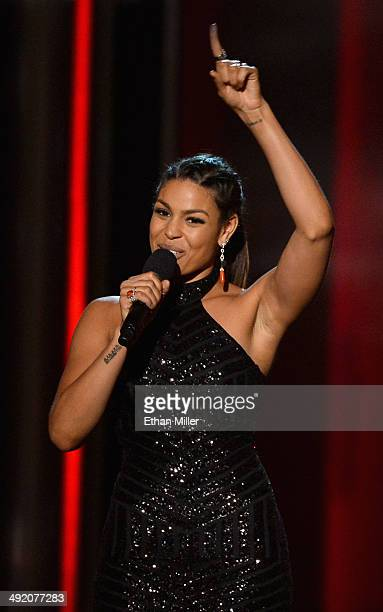 Singer/songwriter Jordin Sparks introduces a performance by Jason Derulo during the 2014 Billboard Music Awards at the MGM Grand Garden Arena on May...