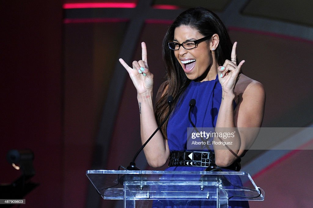 Singer/songwriter <a gi-track='captionPersonalityLinkClicked' href=/galleries/search?phrase=Jordin+Sparks&family=editorial&specificpeople=4165535 ng-click='$event.stopPropagation()'>Jordin Sparks</a> speaks onstage during the 21st annual Race to Erase MS at the Hyatt Regency Century Plaza on May 2, 2014 in Century City, California.