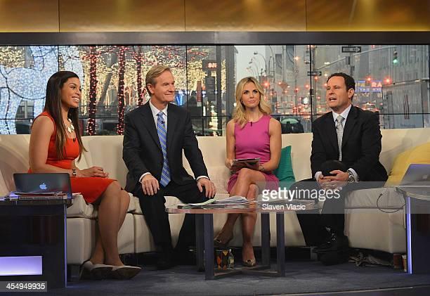 Singer/songwriter Jordin Sparks speaks to 'Fox Friends' hosts Steve Doocy Elisabeth Hasselbeck and Brian Kilmeade at 'FOX Friends' at FOX Studios on...