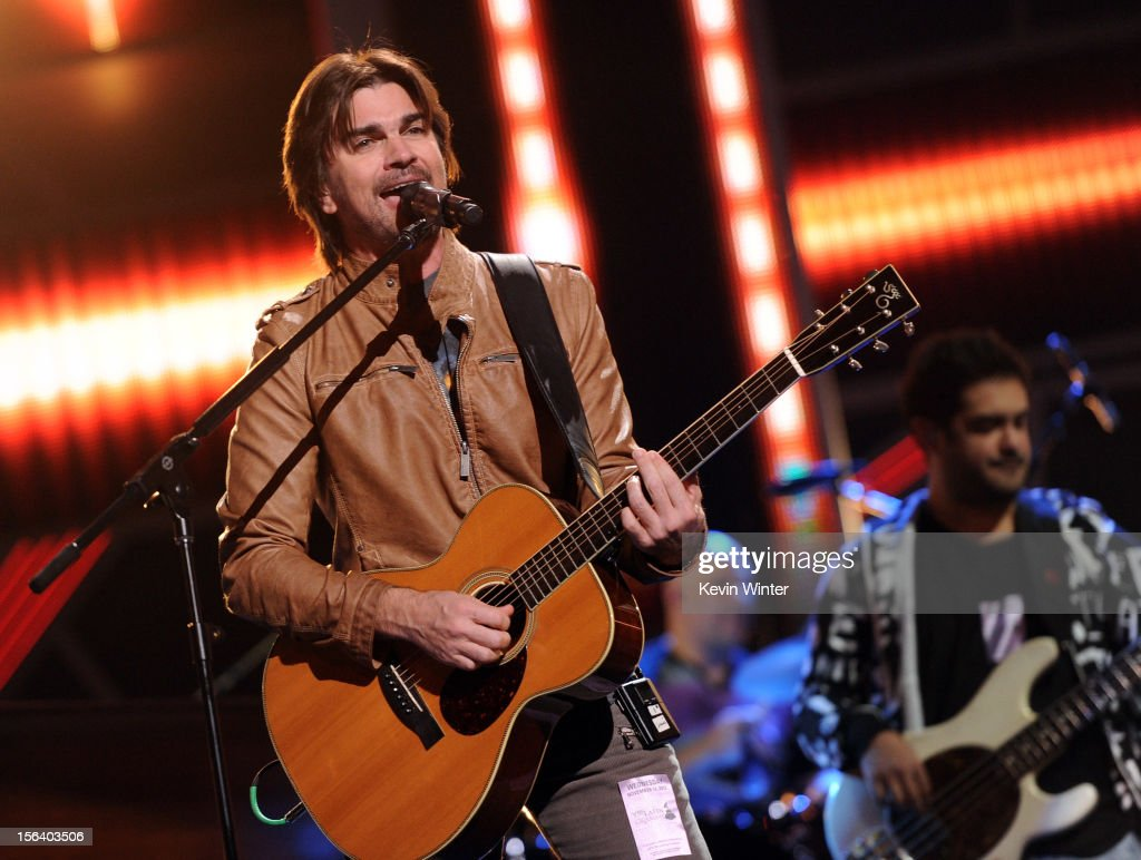 Singer/songwriter <a gi-track='captionPersonalityLinkClicked' href=/galleries/search?phrase=Juanes&family=editorial&specificpeople=202467 ng-click='$event.stopPropagation()'>Juanes</a> performs onstage during rehearsals for the 13th annual Latin GRAMMY Awards at the Mandalay Bay Events Center on November 14, 2012 in Las Vegas, Nevada.