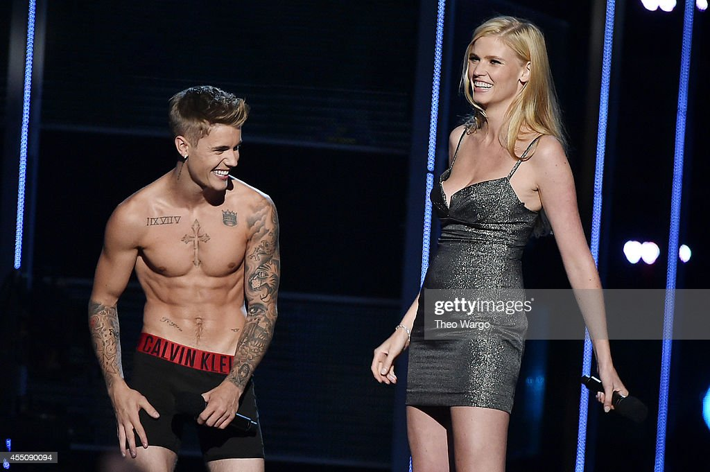 Singer-songwriter <a gi-track='captionPersonalityLinkClicked' href=/galleries/search?phrase=Justin+Bieber&family=editorial&specificpeople=5780923 ng-click='$event.stopPropagation()'>Justin Bieber</a> and model Laura Stone present onstage at Fashion Rocks 2014 presented by Three Lions Entertainment at the Barclays Center of Brooklyn on September 9, 2014 in New York City.