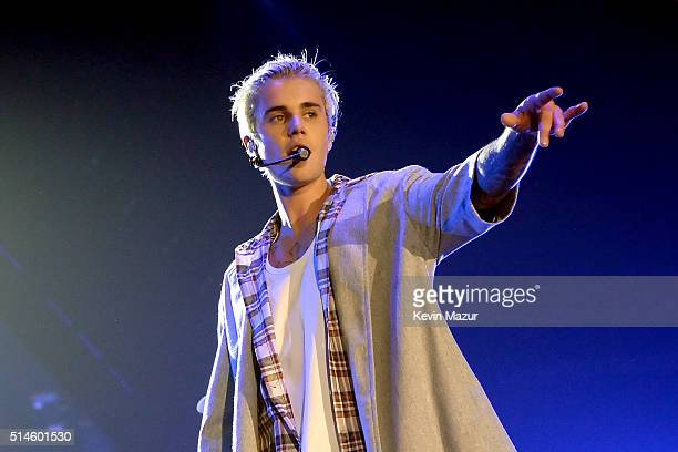 Singer/songwriter Justin Bieber performs onstage at KeyArena on March 9 2016 in Seattle Washington