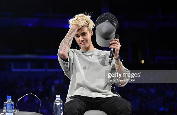 Singer/songwriter Justin Bieber speaks onstage during An Evening With Justin Bieber at Staples Center on November 13 2015 in Los Angeles California