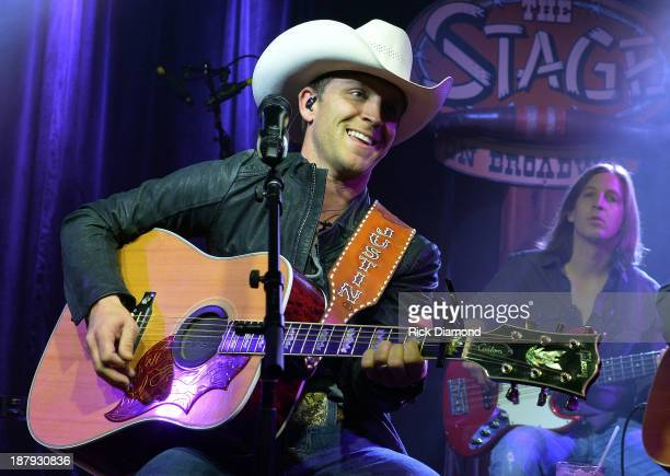 Singer/Songwriter Justin Moore performs during a taping of 'ACM Sessions' With Justin Moore at The Stage on November 13 2013 in Nashville Tennessee
