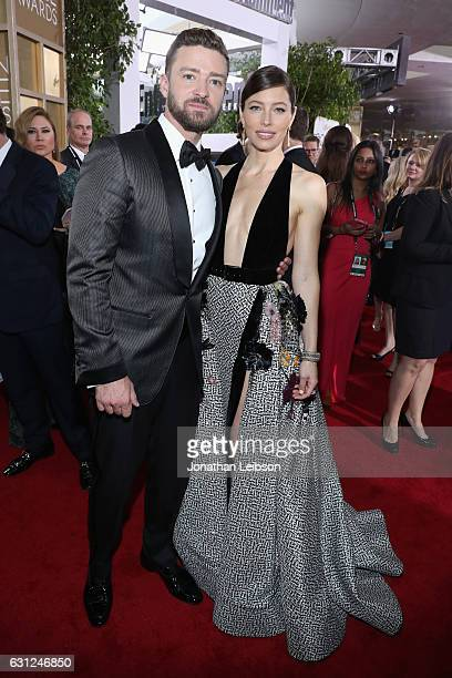 Singersongwriter Justin Timberlake and actress Jessica Biel at the 74th annual Golden Globe Awards sponsored by FIJI Water at The Beverly Hilton...
