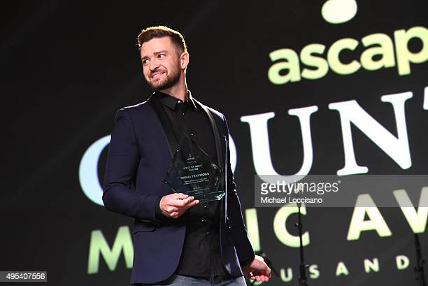 Singersongwriter Justin Timberlake speaks onstage during the 53rd annual ASCAP Country Music awards at the Omni Hotel on November 2 2015 in Nashville...