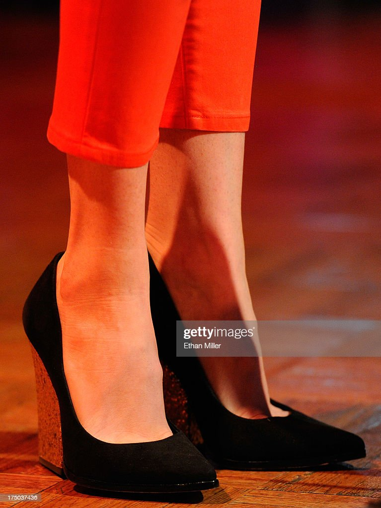 Singer/songwriter Kacey Musgraves (shoes detail) performs at Gilley's Saloon, Dance Hall & Bar-B-Que at the Treasure Island Hotel & Casino as she tours in support of the album 'Same Trailer Different Park' on July 29, 2013 in Las Vegas, Nevada.
