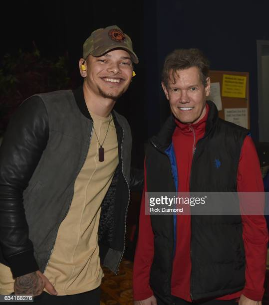 Singer/Songwriter Kane Brown with Singer/Songwriter Randy Travis attend rehearsais for 1 Night 1 Place 1 Time A Heroes Friends Tribute to Randy...