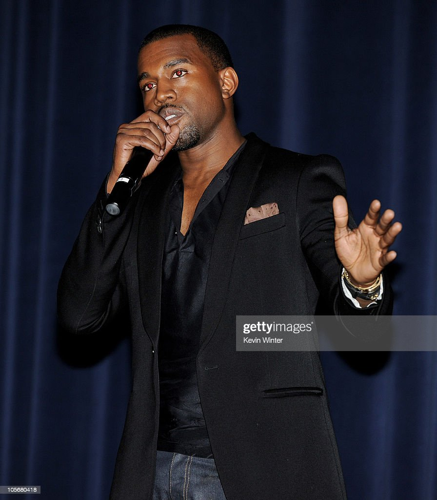 Singer/songwriter <a gi-track='captionPersonalityLinkClicked' href=/galleries/search?phrase=Kanye+West+-+Musician&family=editorial&specificpeople=201803 ng-click='$event.stopPropagation()'>Kanye West</a> speaks onstage after the premiere of 'Runaway' at the Harmony Gold Preview House on October 18, 2010 in Los Angeles, California.