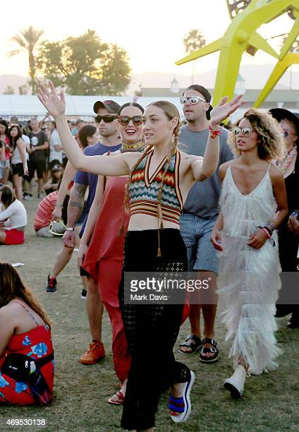 Singer/songwriter Katy Perry and DJ Mia Moretti attend day 3 of the 2015 Coachella Valley Music Arts Festival at the Empire Polo Club on April 12...