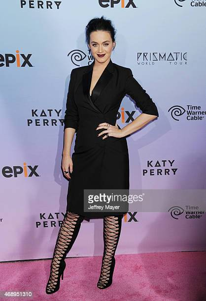 Singer/songwriter Katy Perry arrives at the World Premiere Of EPIX's 'Katy Perry The Prismatic World Tour' at The Ace Hotel Theater on March 26 2015...