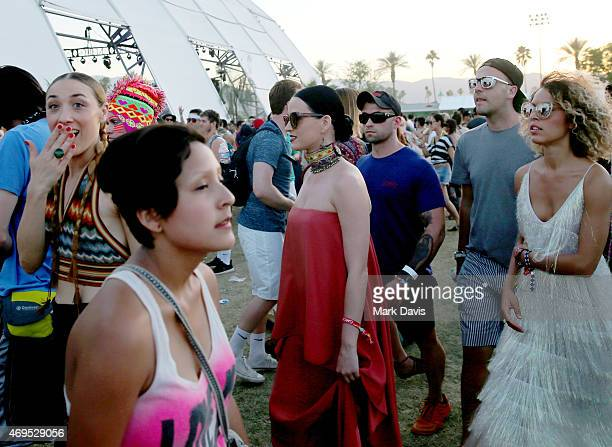 Singer/songwriter Katy Perry attends day 3 of the 2015 Coachella Valley Music Arts Festival at the Empire Polo Club on April 12 2015 in Indio...