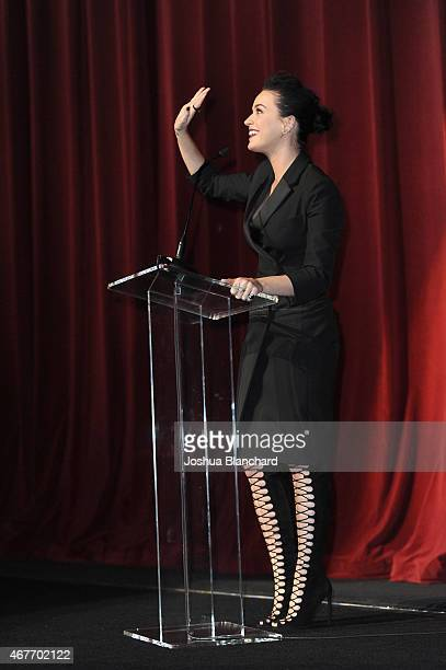Singersongwriter Katy Perry speaks onstage during EPIX and Time Warner Cable World Premier Screening Of 'Katy Perry The Prismatic World Tour' at The...
