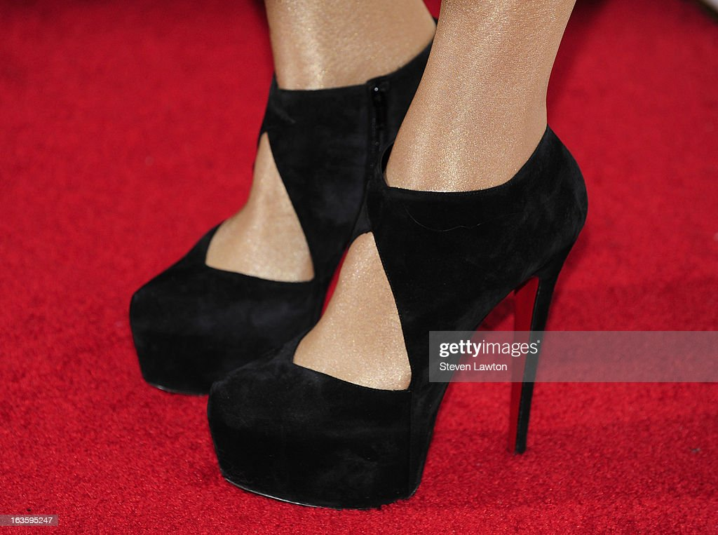 Singer/songwriter <a gi-track='captionPersonalityLinkClicked' href=/galleries/search?phrase=Ke%24ha&family=editorial&specificpeople=6718222 ng-click='$event.stopPropagation()'>Ke$ha</a> (shoes detail) arrives at the Pure Nightclub at Caesars Palace to host the club's eighth anniversary party on March 12, 2013 in Las Vegas, Nevada.