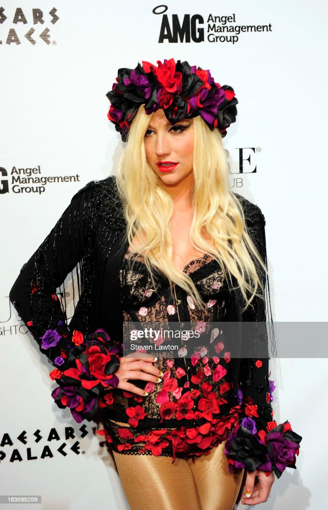 Singer/songwriter <a gi-track='captionPersonalityLinkClicked' href=/galleries/search?phrase=Ke%24ha&family=editorial&specificpeople=6718222 ng-click='$event.stopPropagation()'>Ke$ha</a> arrives at the Pure Nightclub at Caesars Palace to host the club's eighth anniversary party on March 12, 2013 in Las Vegas, Nevada.