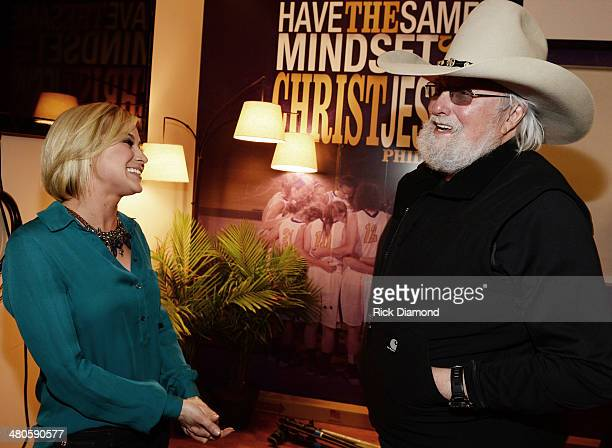 Singer/Songwriter Kellie Pickler and Singer/Songwriter Charlie Daniels chat backstage during Lipscomb University's Copperweld Charlie Daniels'...