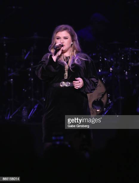 Singer/songwriter Kelly Clarkson performs during Mercedes in the Morning's Not So Silent Night concert at The Joint inside the Hard Rock Hotel Casino...