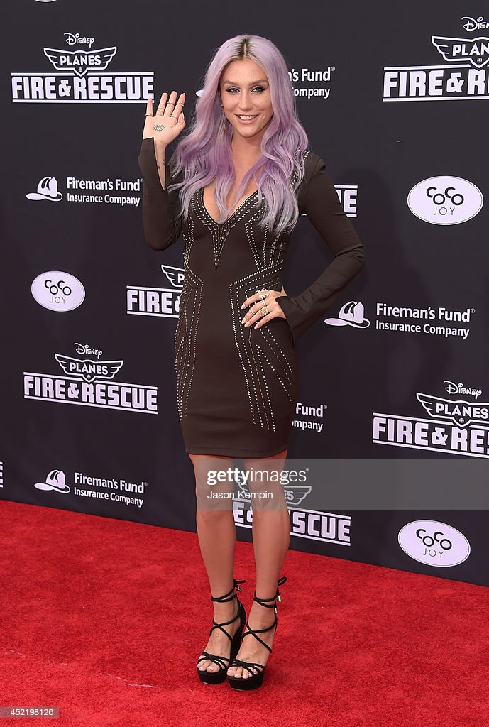 Singer/songwriter Kesha attends the premiere of Disney's 'Planes: Fire & Rescue' at the El Capitan Theatre on July 15, 2014 in Hollywood, California.