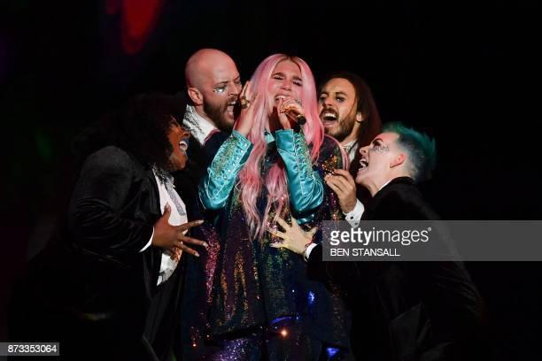 TOPSHOT US singersongwriter Kesha performs during the 2017 MTV Europe Music Awards at Wembley Arena in London on November 12 2017 / AFP PHOTO / Ben...