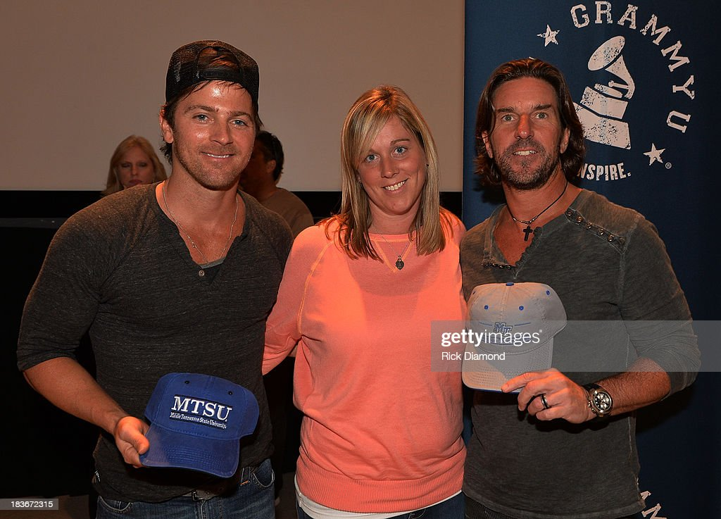 Singer/Songwriter <a gi-track='captionPersonalityLinkClicked' href=/galleries/search?phrase=Kip+Moore&family=editorial&specificpeople=8375431 ng-click='$event.stopPropagation()'>Kip Moore</a>, Ashley Ernst Recording Academy and Singer/Songwriter Brett James attend GRAMMY U Fall Kick-Off with <a gi-track='captionPersonalityLinkClicked' href=/galleries/search?phrase=Kip+Moore&family=editorial&specificpeople=8375431 ng-click='$event.stopPropagation()'>Kip Moore</a> and Brett James at MTSU on October 8, 2013 in Murfreesboro, Tennessee.