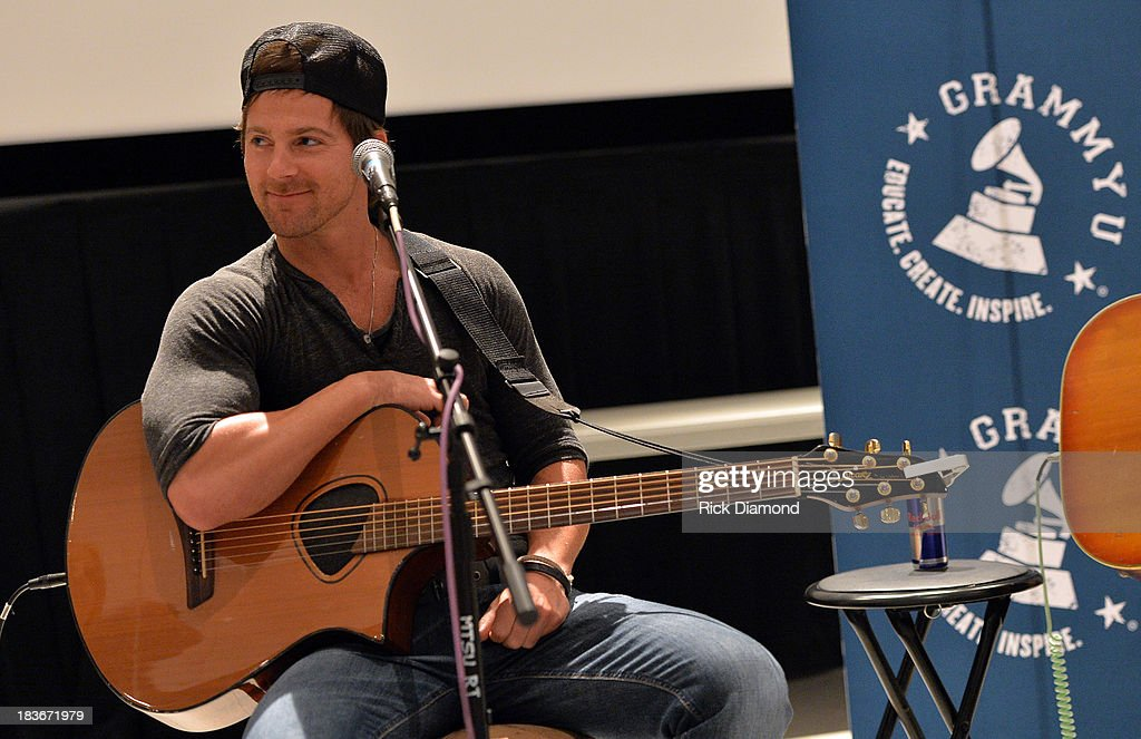 Singer/Songwriter <a gi-track='captionPersonalityLinkClicked' href=/galleries/search?phrase=Kip+Moore&family=editorial&specificpeople=8375431 ng-click='$event.stopPropagation()'>Kip Moore</a> at GRAMMY U Fall Kick-Off with <a gi-track='captionPersonalityLinkClicked' href=/galleries/search?phrase=Kip+Moore&family=editorial&specificpeople=8375431 ng-click='$event.stopPropagation()'>Kip Moore</a> and Brett James at MTSU on October 8, 2013 in Murfreesboro, Tennessee.