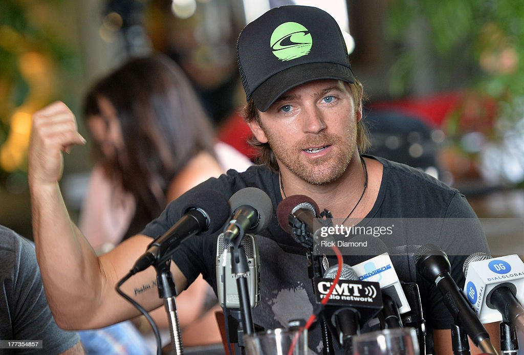 Singer/Songwriter <a gi-track='captionPersonalityLinkClicked' href=/galleries/search?phrase=Kip+Moore&family=editorial&specificpeople=8375431 ng-click='$event.stopPropagation()'>Kip Moore</a> does a Q & A session with local and national press as part of the BMI #1 Party For 'Hey Pretty Girl' by <a gi-track='captionPersonalityLinkClicked' href=/galleries/search?phrase=Kip+Moore&family=editorial&specificpeople=8375431 ng-click='$event.stopPropagation()'>Kip Moore</a> at Flying Saucer Draught Emporium on August 22, 2013 in Nashville, Tennessee.