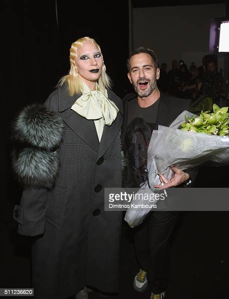 Singersongwriter Lady Gaga and designer Marc Jacobs pose backstage at Marc Jacobs Fall 2016 fashion show during new York Fashion Week at Park Avenue...