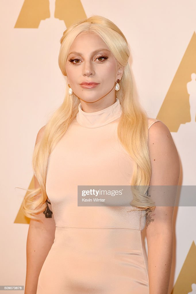 Singer-songwriter <a gi-track='captionPersonalityLinkClicked' href=/galleries/search?phrase=Lady+Gaga&family=editorial&specificpeople=4456754 ng-click='$event.stopPropagation()'>Lady Gaga</a> attends the 88th Annual Academy Awards nominee luncheon on February 8, 2016 in Beverly Hills, California.