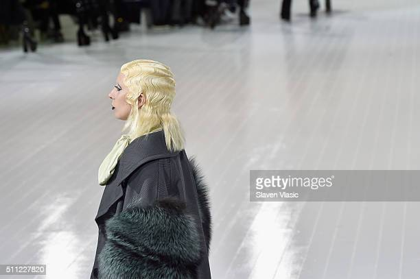 Singersongwriter Lady Gaga walks the runway wearing Marc Jacobs Fall 2016 during New York Fashion Week at Park Avenue Armory on February 18 2016 in...