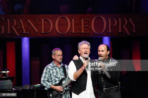 Singer/songwriter Larry Gatlin and Singer/songwriter Lee Greenwood perform before the ACM Lifting Lives Music Camp Performance On The Grand Ole Opry...