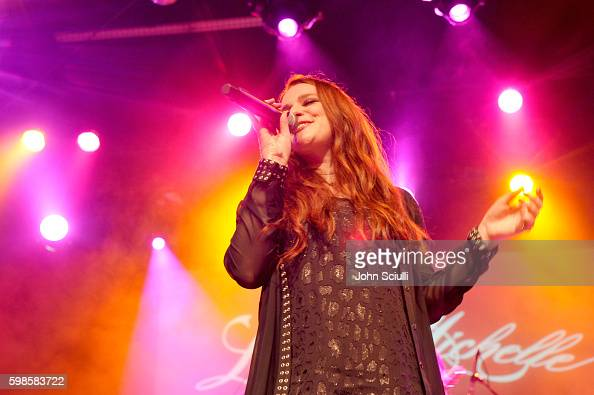 Singer/songwriter Laura Michelle performs onstage during the album release party for Laura Michelle's 'Novel With No End' at El Rey Theatre on...