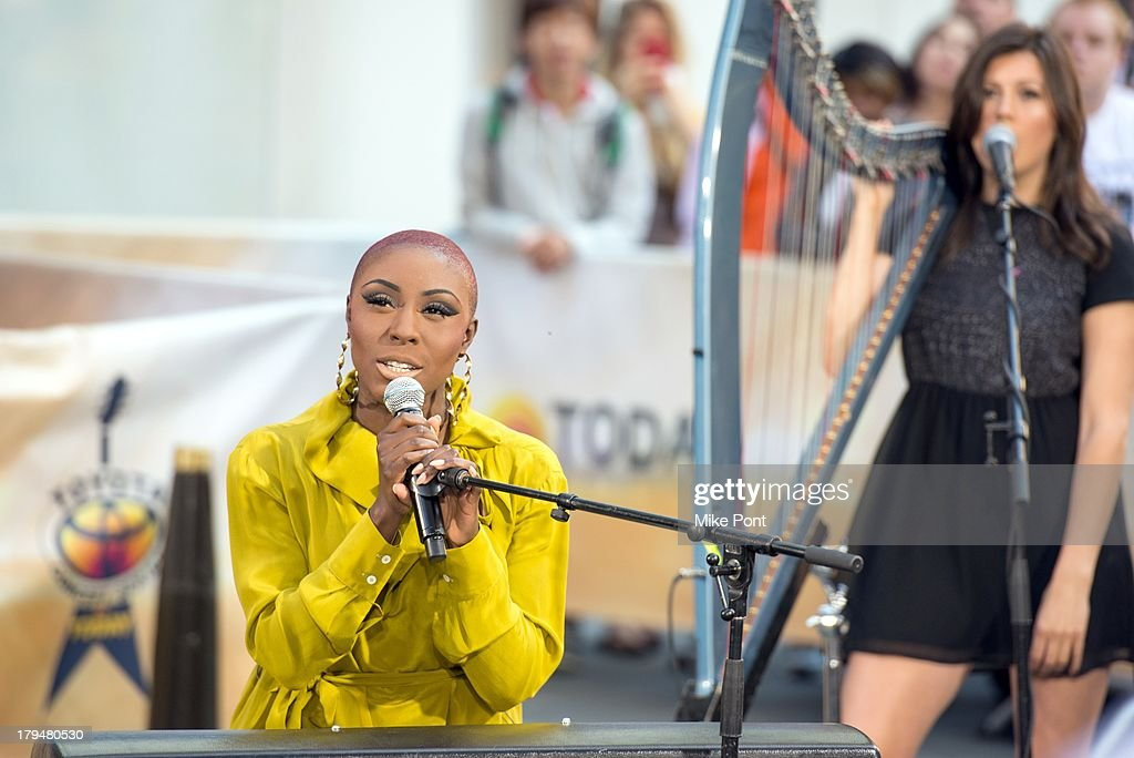 Singer-Songwriter <a gi-track='captionPersonalityLinkClicked' href=/galleries/search?phrase=Laura+Mvula&family=editorial&specificpeople=10006726 ng-click='$event.stopPropagation()'>Laura Mvula</a> (L) peforms on NBC's 'Today' at NBC's TODAY Show on September 4, 2013 in New York City.