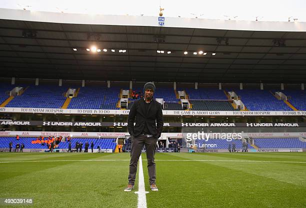 Singersongwriter Lemar poses pitchside ahead of the Barclays Premier League match between Tottenham Hotspur and Liverpool at White Hart Lane on...