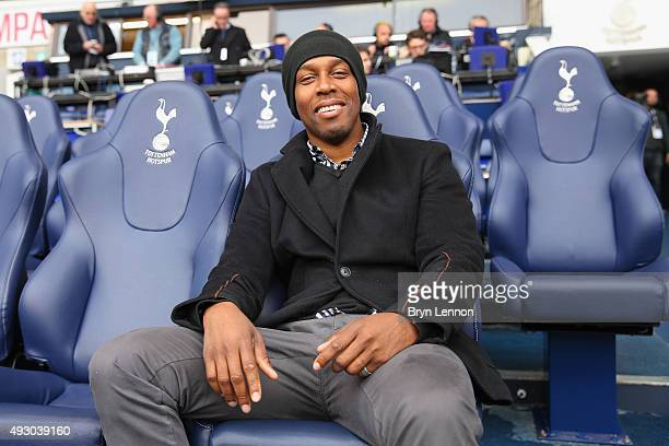 Singersongwriter Lemar sits in the dug out ahead of the Barclays Premier League match between Tottenham Hotspur and Liverpool at White Hart Lane on...