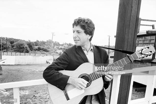 Singer/songwriter Leonard Cohen backstage before his debut performance at the Newport Folk Festival in July 1967 in Newport Rhode Island